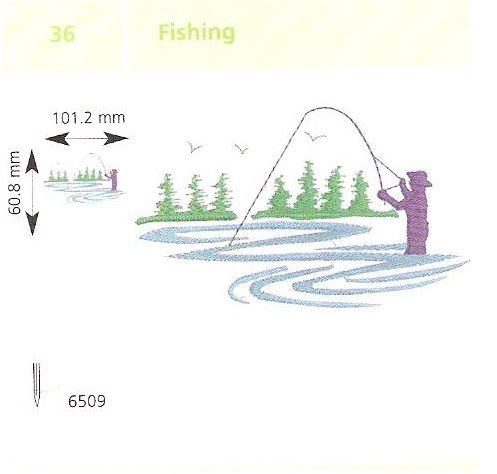 Horgászás hímzés
