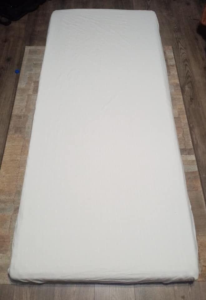 Gumis pamut lepedő fehér 90x200cm (bálás)
