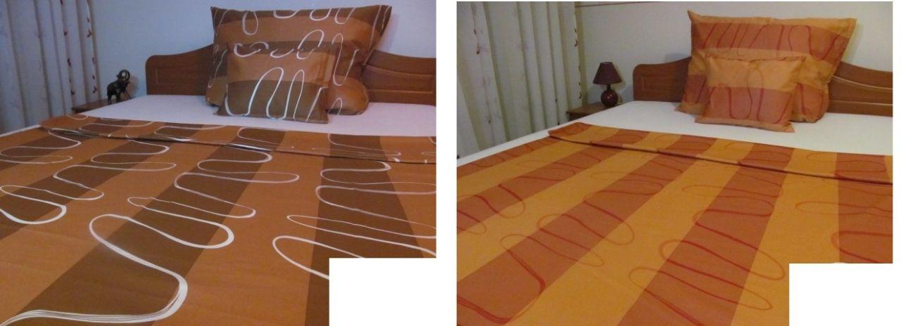 3 részes pamut - szatén ágyneműhuzat garnitúra 5022 barna és narancs